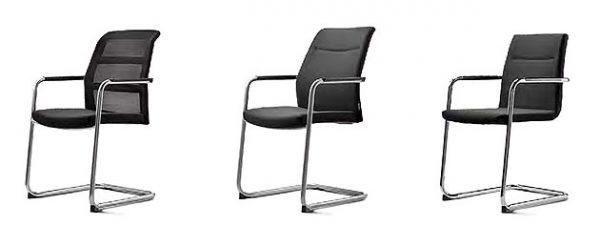 Freischwinger Konferenzstuhl paro-2 mit Netzpolster, Rückenpolster und gepolsterter Sitzschale