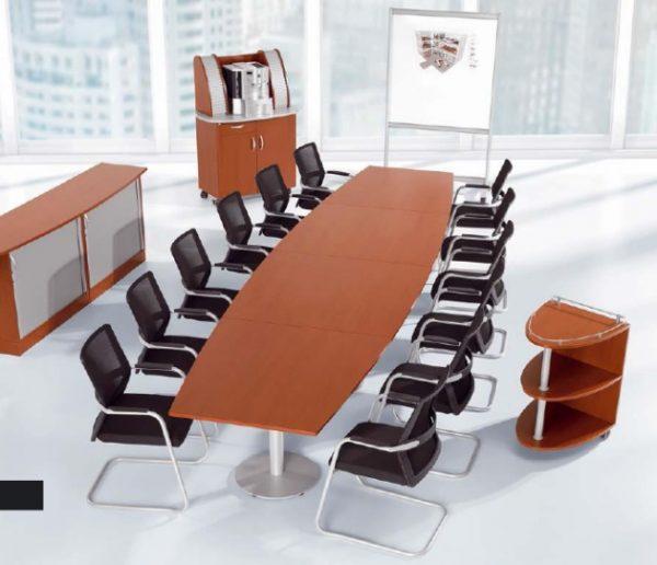 Konferenztische KLA ovale Tischanlage auf Rundsäulen