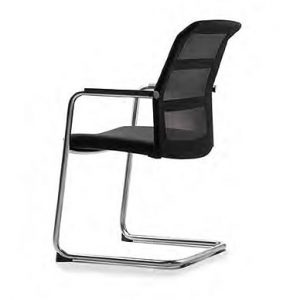 Konferenzstühle paro-2 als Freischwinger mit Netzruecken in schwarz