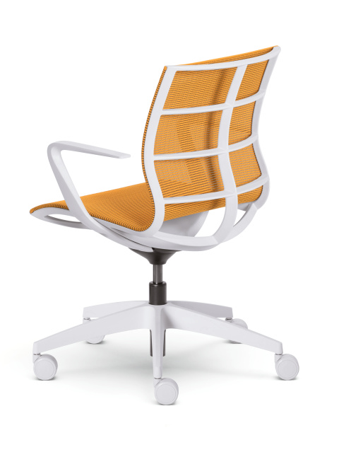 Konferenzstuhl Sejoy Sitzkomfort in weiss und orange