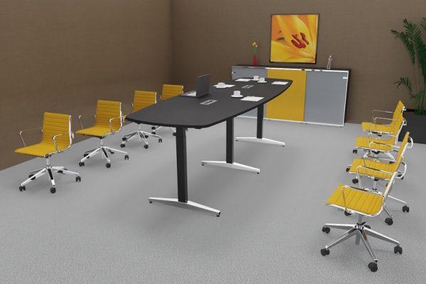Konferenztisch at-table als Steh-Sitz-Tisch, elektrisch höhenverstellbar