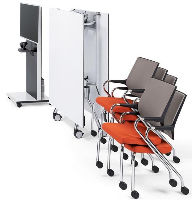 Konferenztisch Fold faltbar, klappbar und rollbar, Konferenzstühle auf Rollen