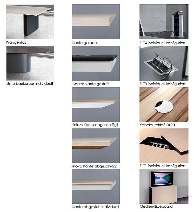 Konferenztische COMM Tischkanten, Verkabelung, Zubehör