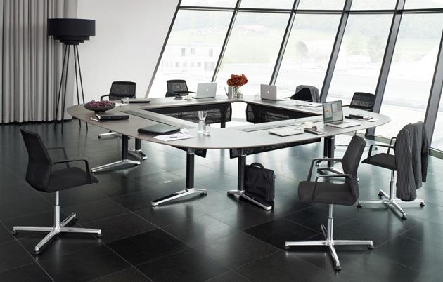 Konferenztisch pulse, Gestell-C-form, Tischform Quadrat