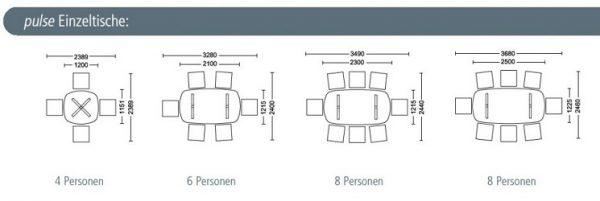 pulse Konferenztisch als Einzeltische mit X-Fuß oder T-Fuß