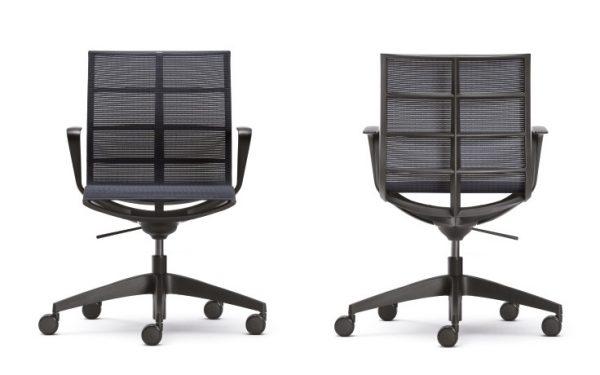 Konferenzstühle sejoy, Netzrücken schwarz von hinten