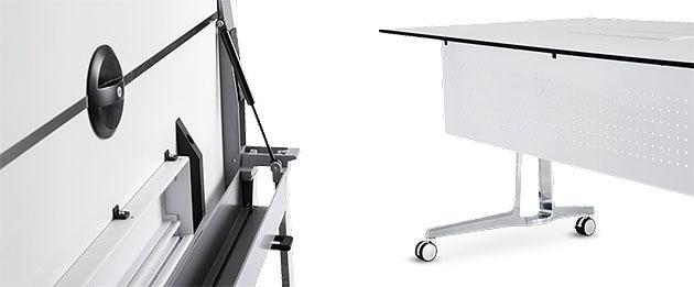 Konferenztische skill mobil Klappmechanismus mit Gasfeder, Tischplatte leicht schwenkbar