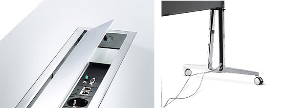 Konferenztische skill mobil, Kabelschacht für Elektrifizierung