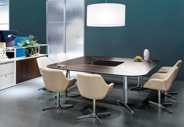 Konferenzsystemtisch skill in rechteckiger Tischform, gerundete Ecken