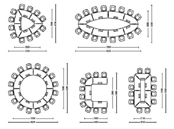 Konferenzsystemtisch skill, Tischkonfigurationen, Stellvarianten