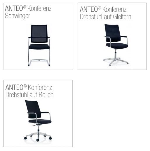 Konferenzstuhl anteo als Freischwinger und Drehsessel