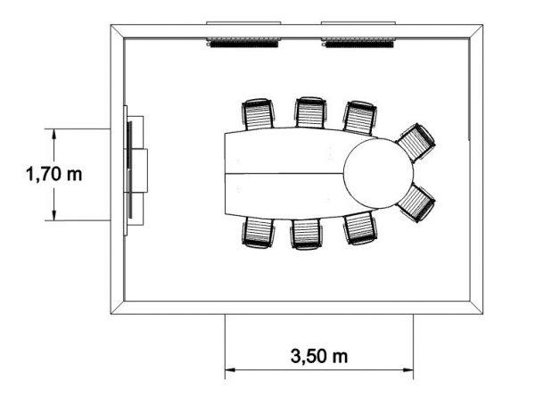 MSM Videokonferenztisch, 350 cm, geschlossen, mit Bemaßung