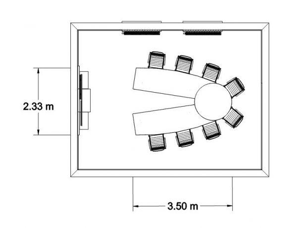 MSM Videokonferenztisch, 350 cm, offen, mit Bemaßung