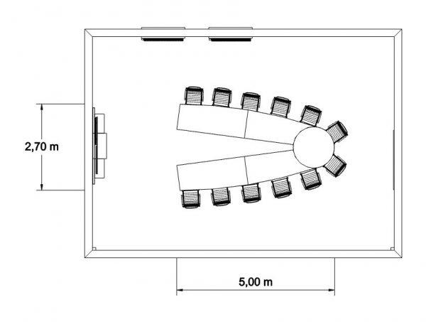 MSM Videokonferenztisch, 500 cm, offen, mit Bemaßung