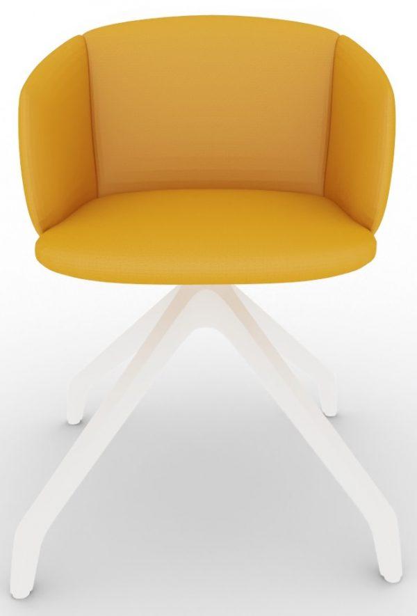 Konferenz-Polster-Sessel Not 4096 mit Kunststoffgestell in weiß