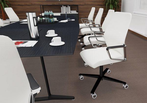Konferenzdrehsessel Signo in Leder weiß und Gestell in schwarz