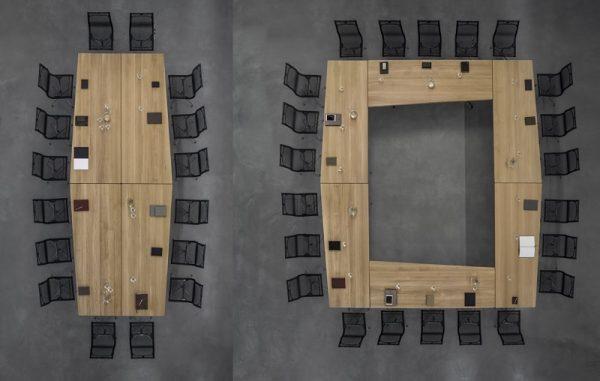 lynx Konferenztische im Block oder Rechteck aufgestellt