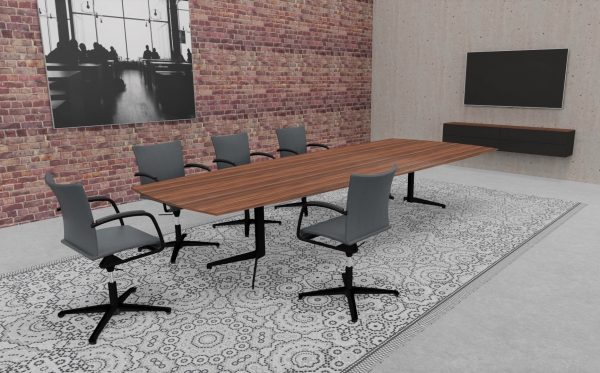 lynx Konferenztische aus Massivholz mit Gestell aus Stahl