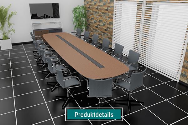 Konferenzraumeinrichtung, ovaler Konferenztisch mit Kabelschacht