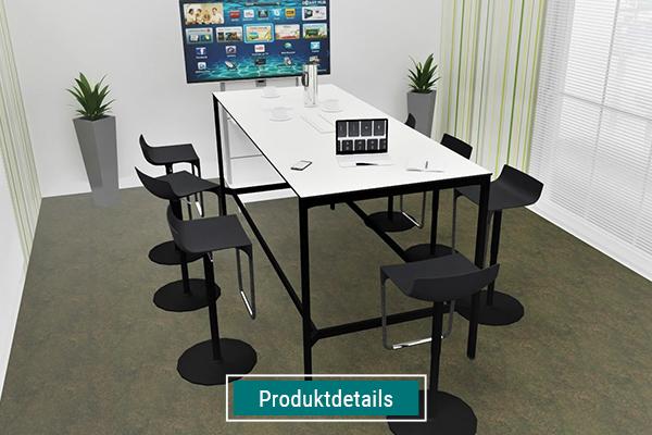 Möbel für Meetingräume, Stehtisch mit Hockern