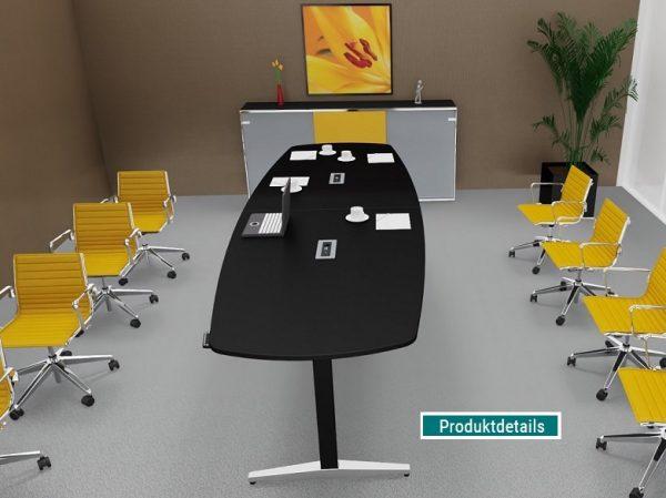 Steh-Sitz-Konferenztisch mit soft touch Tischplatte